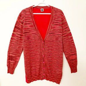 Missoni Silk Space Dye Knit Cardigan Sweater Red